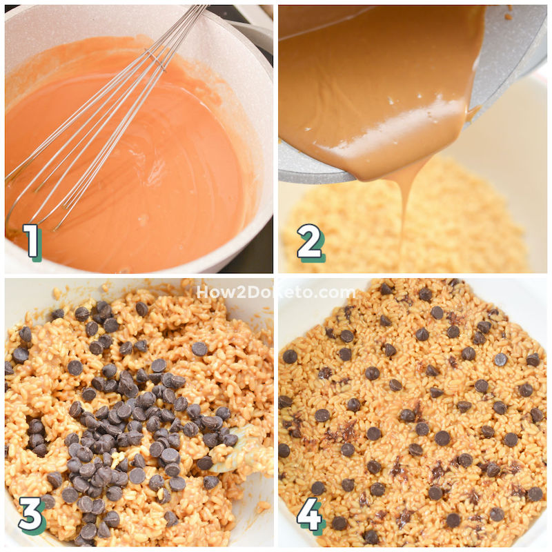 photo step by step collage showing how to make keto friendly peanut butter rice krispie treats