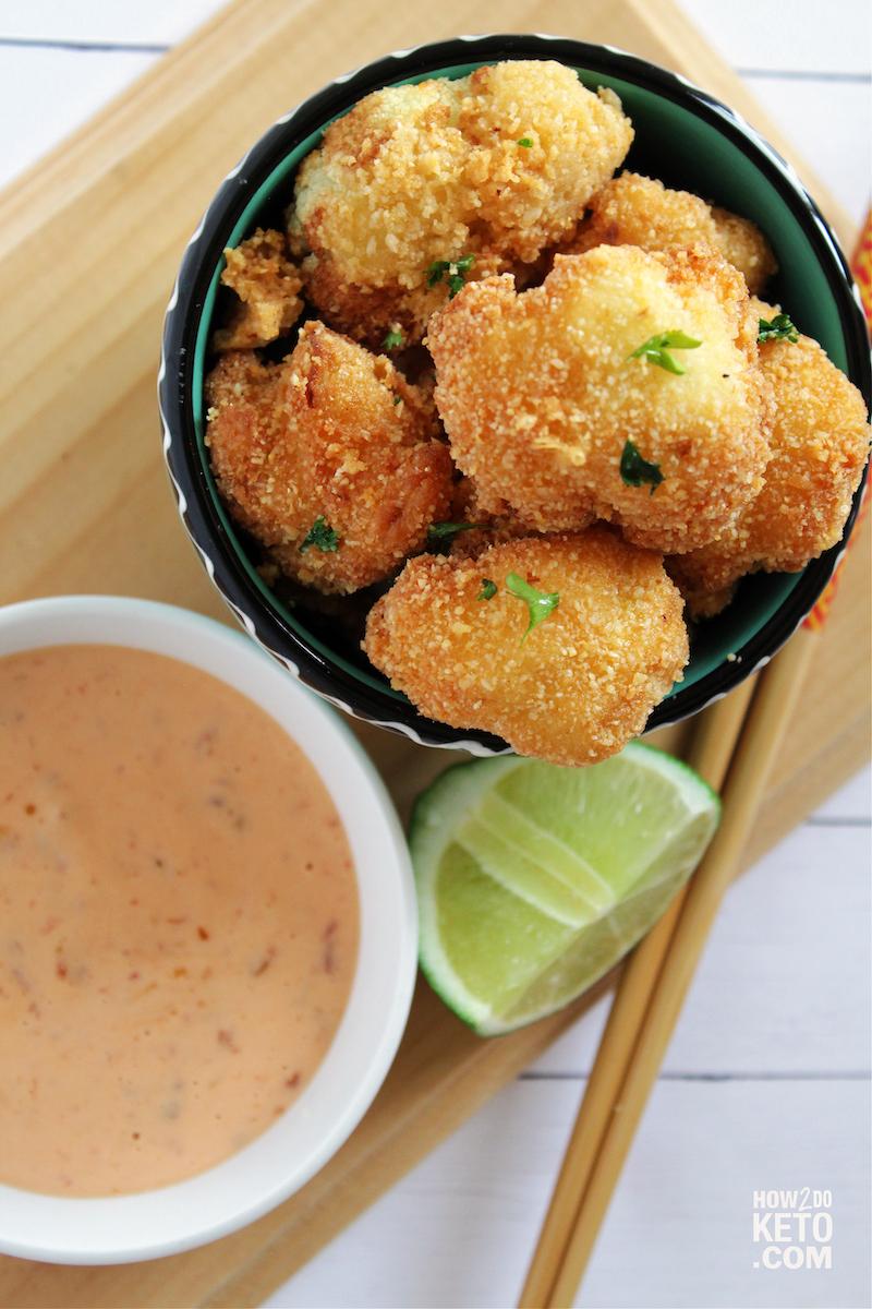 fried cauliflower with keto bang bang sauce for dipping