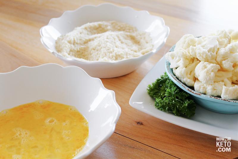 Cauliflower ready to be breaded