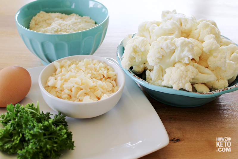 cauliflower, cheese, and almond flour in mixing bowls