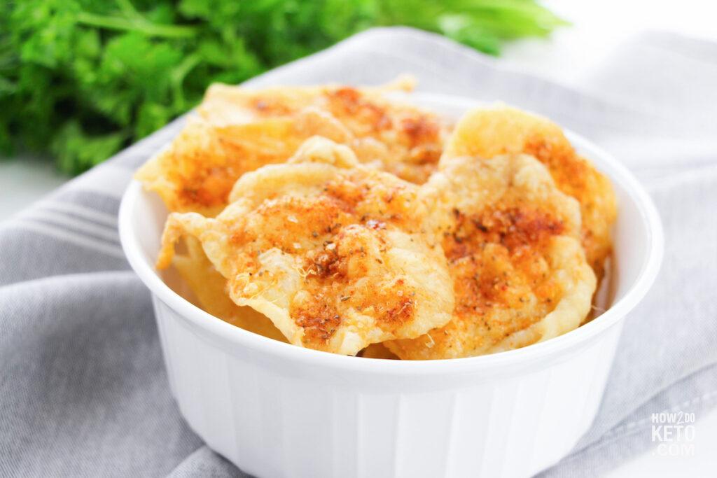 Keto Chicken Skin Chips in a bowl