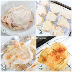 Keto Chicken Skin Chips step by step