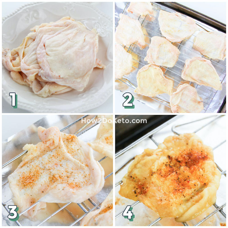 collage image showing how to make chicken skin chips in the oven