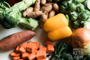 """fresh veggies on counter; text overlay """"Do You Need to Eat Vegetables on Keto?"""""""