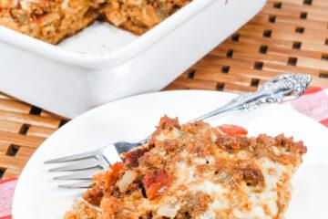 Keto Enchilada Casserole served on a plate