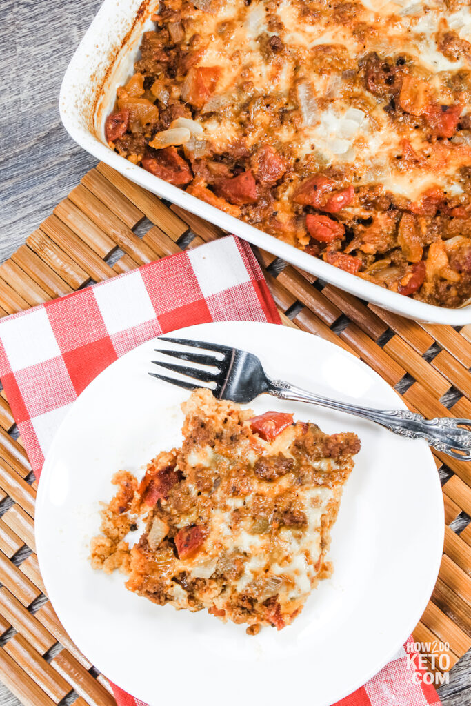 Keto Enchilada Casserole viewed from above