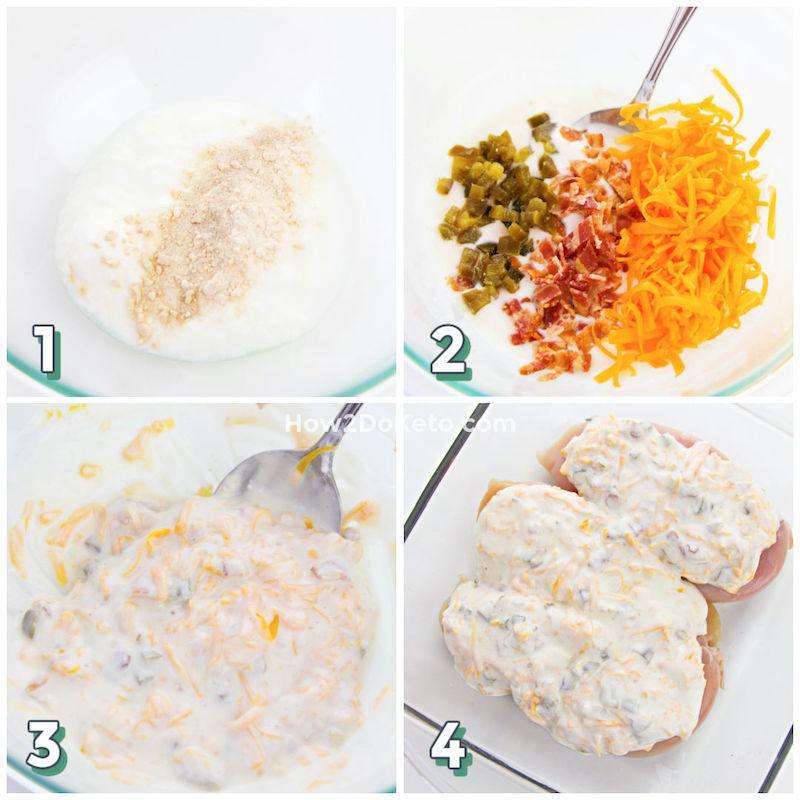 Keto Jalapeño Popper Chicken step by step