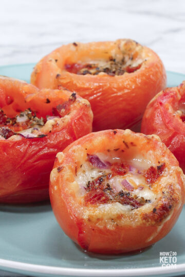 tomatoes stuffed with pepperoni and cheese
