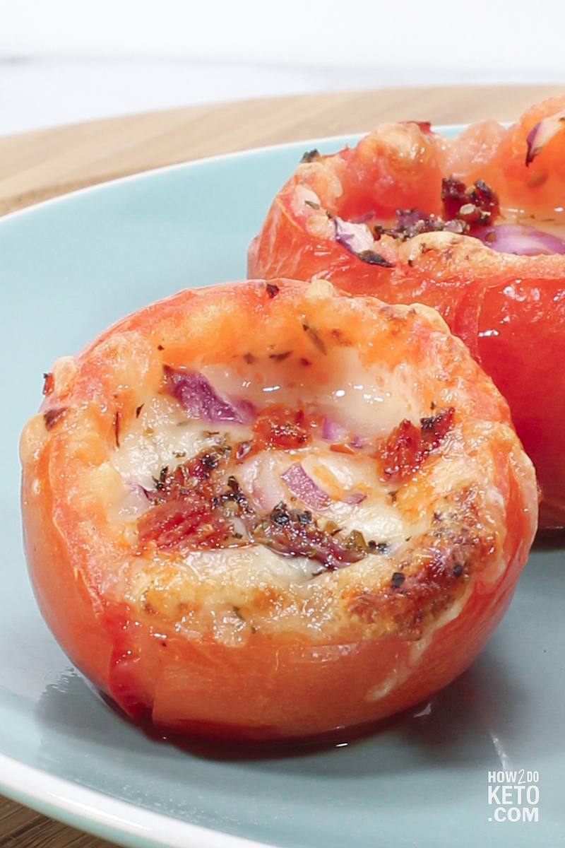 Keto Stuffed Tomatoes with pepperoni and cheese
