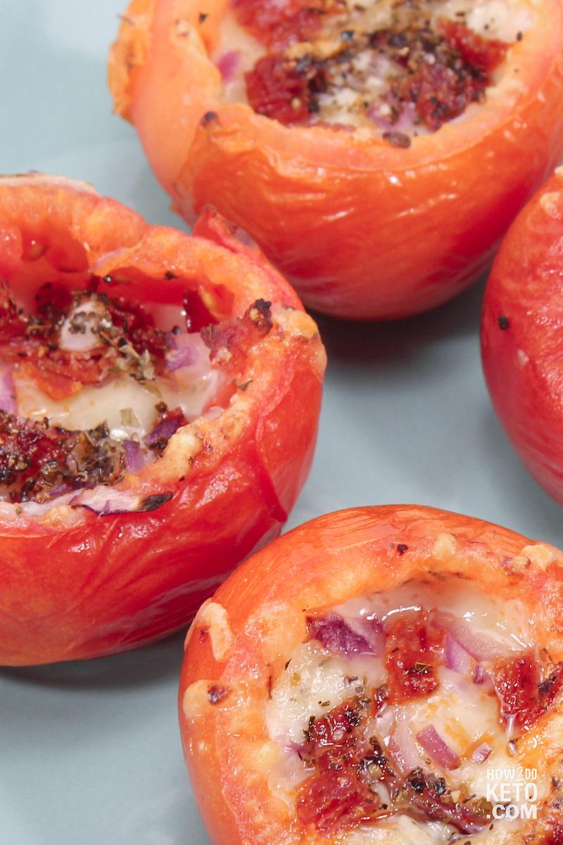 low carb stuffed tomatoes with Italian seasoning