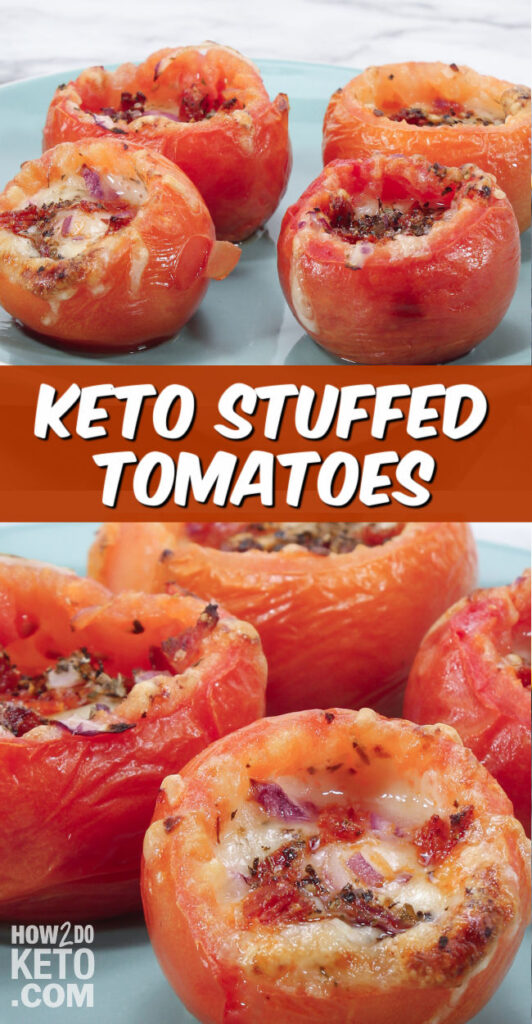keto stuffed tomatoes with meat and cheese