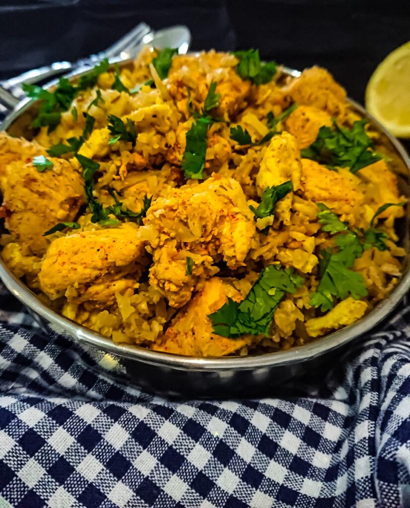 masala chicken with cauliflower rice