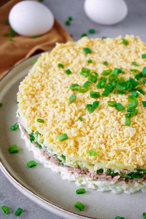 layered low carb tuna salad