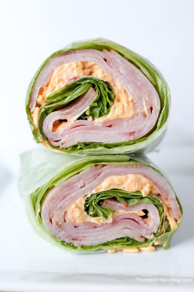 lettuce, meat, and cheese wrap