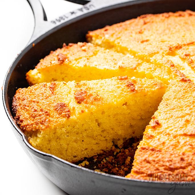 low carb cornbread in skillet