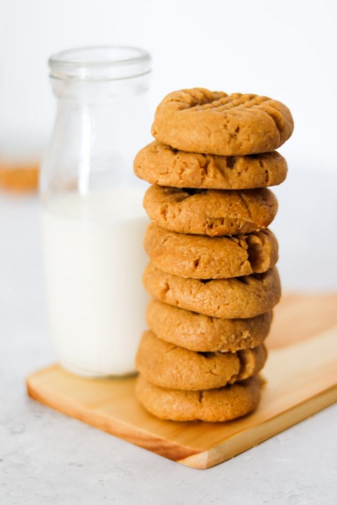 stack of bite sized peanut butter cookies