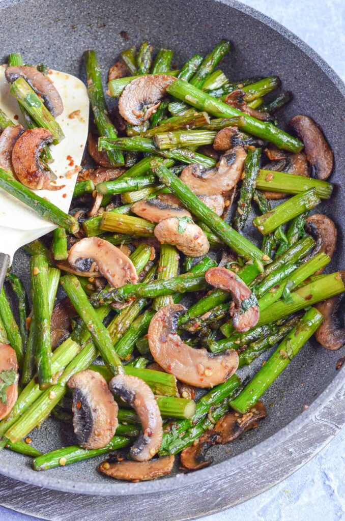 sautéed asparagus and mushrooms