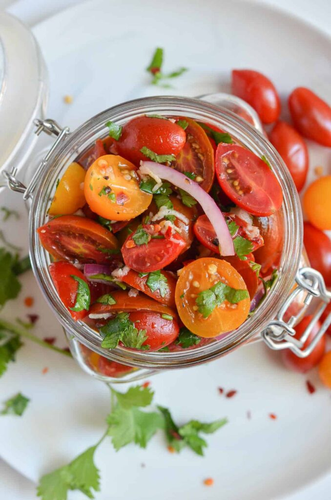 marinated cherry tomatoes in jar