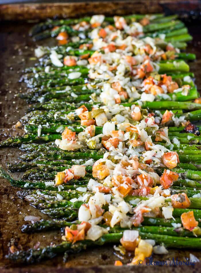 sheet pan roasted asparagus with cheese