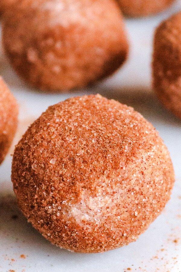 pumpkin fat bombs rolled in cinnamon sugar