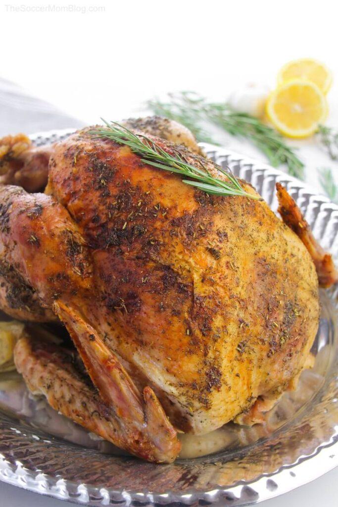 roast turkey on silver platter