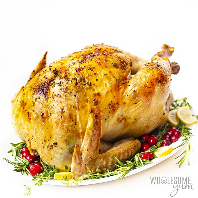 roasted turkey with cranberries and herbs