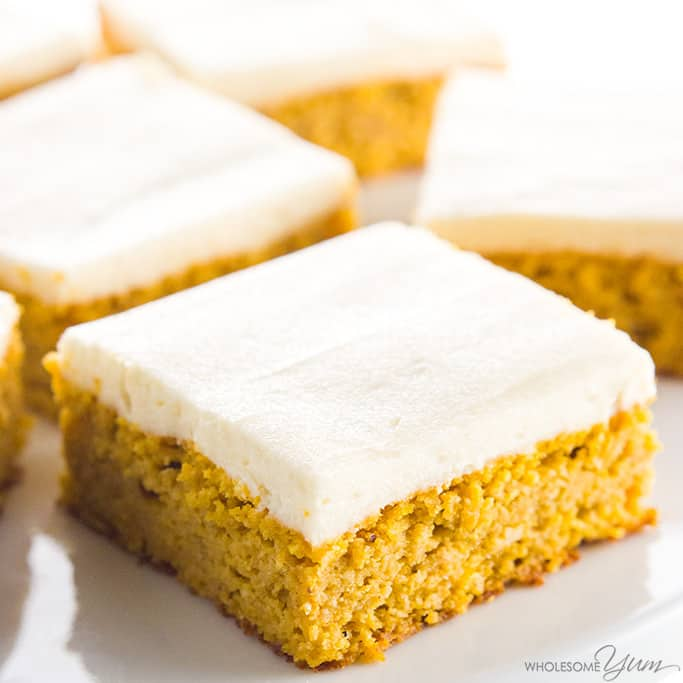 pumpkin cake squares with frosting